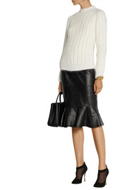 Oscar de la Renta Fluted leather skirt