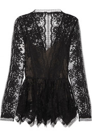 Oscar de la Renta Chantilly lace peplum top
