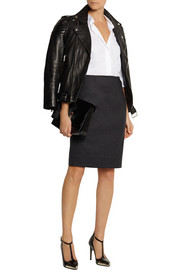 Oscar de la Renta Wool-blend felt pencil skirt
