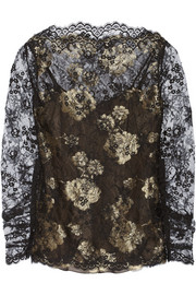 Oscar de la Renta Metallic Chantilly lace blouse