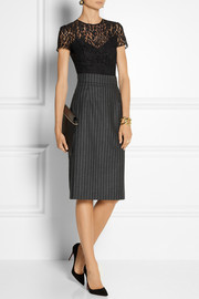 Oscar de la Renta Pinstriped wool-blend pencil skirt