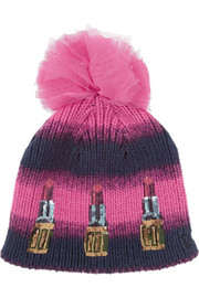 House of Holland New Era sequined knitted bobble hat