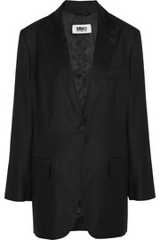 MM6 Maison Martin Margiela Satin-paneled wool-blend blazer