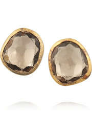 MUNNU 22-karat gold zircon earrings