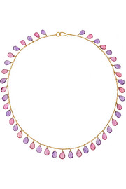MUNNU 22-karat gold, amethyst and tourmaline necklace