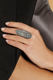 Venyx Lady Caiman 18-karat blackened white gold diamond ring