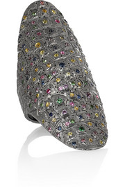 Venyx Lady Gator 9-karat blackened white gold multi-stone ring