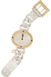 Ann Dexter-Jones Midnight Hour sterling silver, 18-karat gold, mother-of-pearl and diamond bracelet