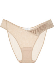 Satin and stretch-tulle briefs