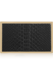 Python-paneled gold-tone box clutch