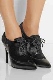 Sigerson Morrison Gisa polished-leather and calf hair ankle boots