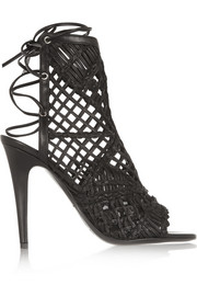 Tamara Mellon Black Widow macramé leather sandals