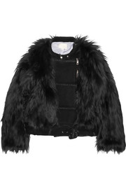 Wool blend-paneled faux fur biker jacket