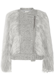 Faux fur and wool-blend biker jacket