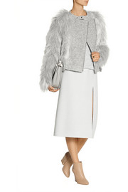 Band of Outsiders Faux fur and wool-blend biker jacket