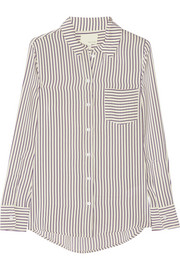 Band of Outsiders Striped silk crepe de chine shirt