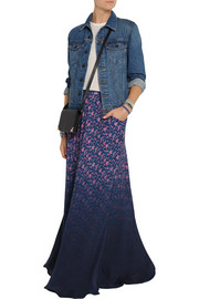 Band of Outsiders Dégradé floral-print silk maxi skirt