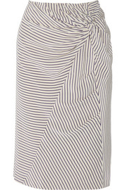 Band of Outsiders Gathered striped silk crepe de chine skirt