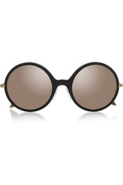 Round-frame acetate and gold-plated mirrored sunglasses