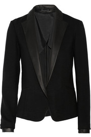 Theory Lendria leather-trimmed gabardine blazer