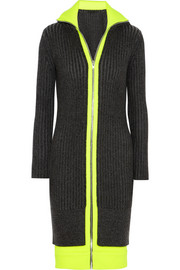 Jersey-trimmed ribbed wool-blend dress