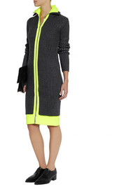 Alexander Wang Jersey-trimmed ribbed wool-blend dress