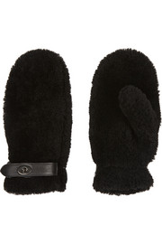 Coach Leather-trimmed shearling mittens