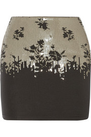 La Perla Ombre Floral sequined stretch-jersey skirt