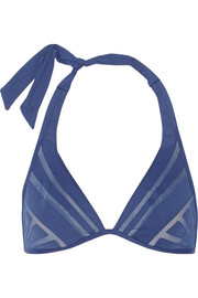 Dunes mesh-trimmed underwired bikini top