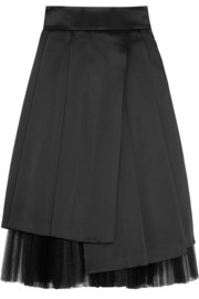 Marc by Marc Jacobs Satin and plissé-tulle midi skirt