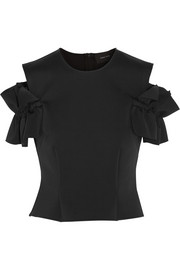 Simone Rocha Ruffled cutout stretch-scuba top