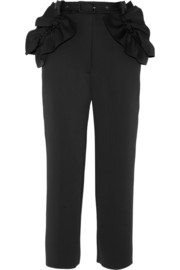 Ruffled stretch-scuba straight-leg pants