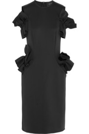 Simone Rocha Ruffled cutout stretch-scuba dress