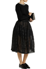 Simone Rocha Metallic-embroidered tulle midi skirt