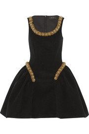 Simone Rocha Bead-embellished felt mini dress
