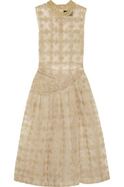 Simone Rocha Metallic-embroidered tulle midi dress
