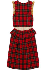 Simone Rocha Bead-embellished tartan seersucker dress