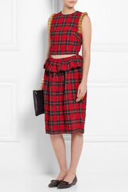 Simone Rocha Beaded tartan seersucker dress