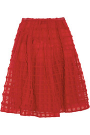 Simone Rocha Wool-embroidered tulle midi skirt