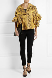 Simone Rocha Snake-effect leather biker jacket