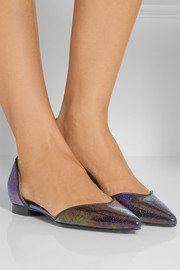 3.1 Phillip Lim Devon lizard-effect patent-leather point-toe flats