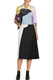 3.1 Phillip Lim Paneled wool-gabardine and satin skirt