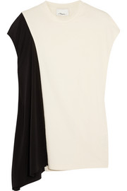 3.1 Phillip Lim Asymmetric cotton-jersey and silk-georgette top