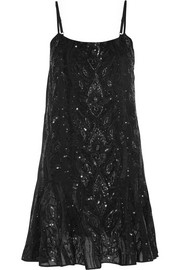 Needle & Thread Ebony sequined crepe dress