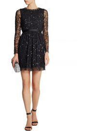 Needle & Thread Crystal and sequin-embellished tulle mini dress