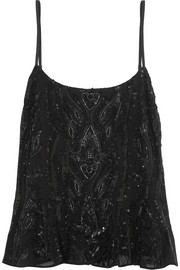 Needle & Thread Ebony embellished georgette top