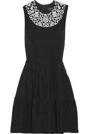 Needle & Thread Embroidered crepe mini dress