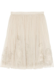 Needle & Thread Bead-embellished tulle mini skirt