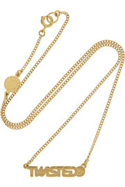 Twisted gold-tone cubic zirconia necklace