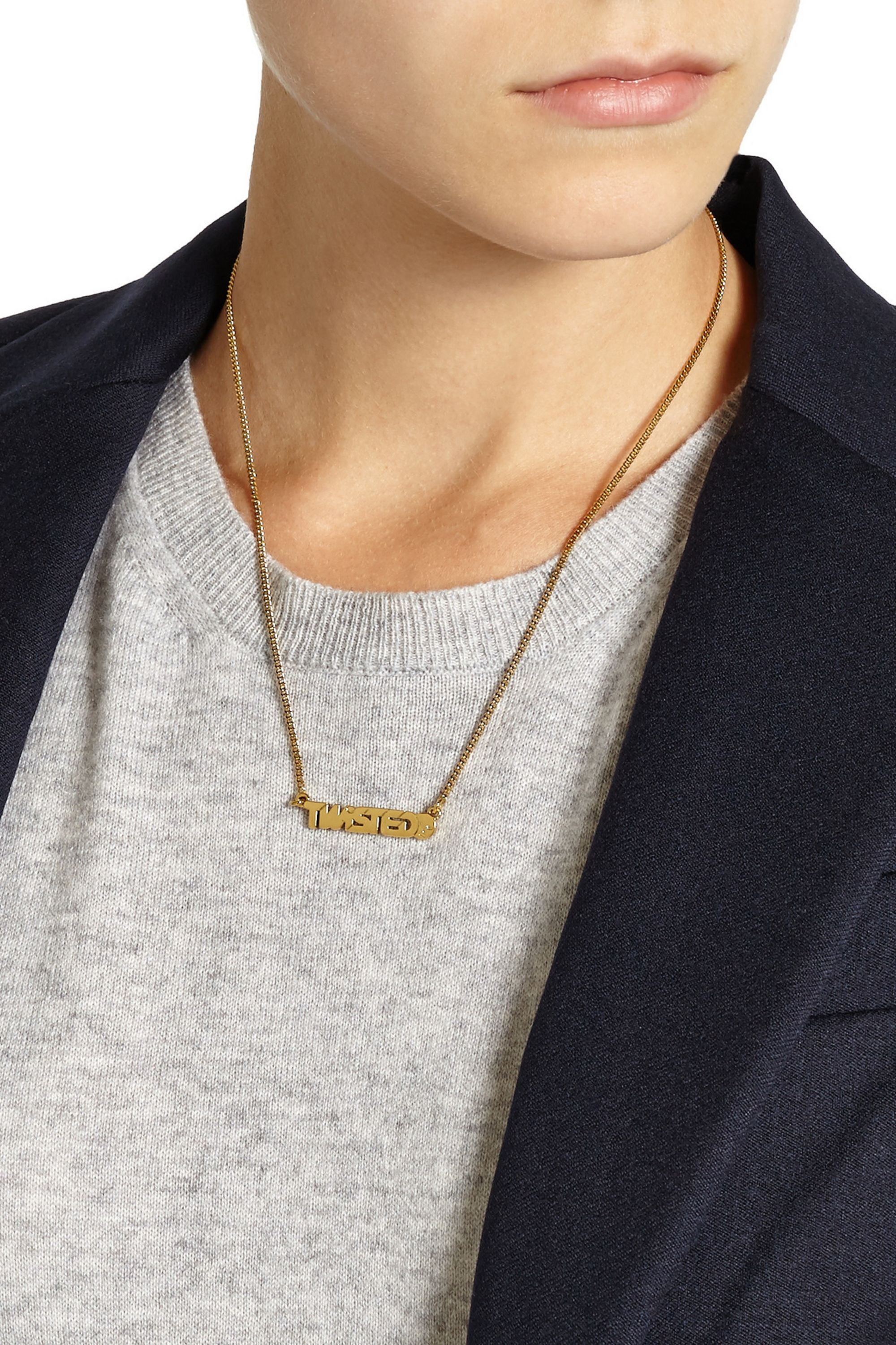 Marc by Marc Jacobs Twisted gold-tone cubic zirconia necklace